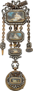 Estate Jewelry:Chatelaines, Victorian Pearl, Porcelain, Crystal, Gold, Silver Chatelaine with Pocket Watch. ...