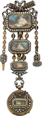 Victorian Pearl, Porcelain, Crystal, Gold, Silver Chatelaine with Pocket Watch