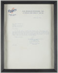 Autographs:Letters, 1958 Walter O'Malley Signed Typed Letter re: Dodgers Move to LosAngeles....