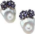 Estate Jewelry:Earrings, Diamond, Iolite, South Sea Cultured Pearl, White Gold Earrings. ...