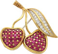 Estate Jewelry:Brooches - Pins, Ruby, Diamond, Gold, Platinum Brooch, Tiffany & Co.. ...