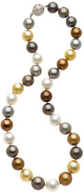 Estate Jewelry:Pearls, South Sea Cultured Pearl, Diamond, White Gold Necklace. ...