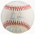 Autographs:Baseballs, Early 1990's Nolan Ryan, Sandy Koufax & Bob Feller Multi SignedBaseball....