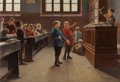 Fine Art - Painting, European:Antique  (Pre 1900), CHARLES BERTRAND D'ENTRAYGUES (French, b. 1851). Concert in theClassroom. Oil on canvas. 15 x 22 inches (38.1 x 55.9 cm...