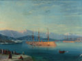 Fine Art - Painting, European:Antique  (Pre 1900), IVAN KONSTANTINOVICH AIVAZOVSKY (Russian, 1817-1900). FrenchShips Departing the Black Sea, 1871. Oil on canvas. 18-7/8 ...