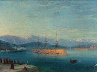 IVAN KONSTANTINOVICH AIVAZOVSKY (Russian, 1817-1900) French Ships Departing the Black Sea, 1871 Oil