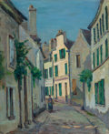 Fine Art - Painting, European:Antique  (Pre 1900), JEAN-BAPTISTE-ARMAND GUILLAUMIN (French, 1841-1927). Rue Lepic àMontmartre, Paris, circa 1870. Oil on canvas. 18-1/8 x ...