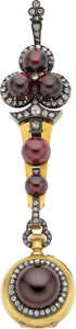 Estate Jewelry:Watches, Antique Swiss Garnet, Diamond, Gold, Silver Chatelaine Watch. ...