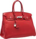 """Luxury Accessories:Bags, Hermes 35cm Rouge Garance Clemence Leather Birkin Bag with Palladium Hardware . Very Good to Excellent Condition . 14""""..."""