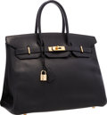 "Luxury Accessories:Bags, Hermes 35cm Black Ardennes Leather Birkin Bag with Gold Hardware. Very Good Condition . 14"" Width x 10"" Height x 7"" De..."
