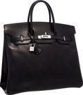 "Luxury Accessories:Bags, Hermes 36cm Black Calf Box Leather HAC Birkin Bag with PalladiumHardware. Very Good Condition. 14.5"" Width x 11.5""He..."
