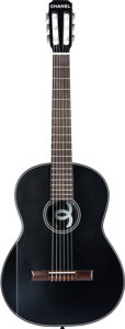 "Luxury Accessories:Accessories, Chanel Limited Edition Black Redwood & Tea Wood ClassicalAcoustic Guitar . Excellent Condition . 15"" Width x 39""Leng..."