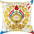 """Luxury Accessories:Home, Hermes White & Gold """"1789 Liberte Egalite Fraternite,"""" by Joachim Metz Silk Pillow Cover . Very Good to Excellent Conditio..."""