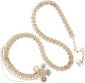 "Luxury Accessories:Accessories, Chanel Champagne Jewel Chain Belt with Pastel Gripoix Buckle.Excellent Condition. 36""-40"" Length x .5"" Width. ..."