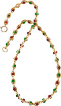 "Luxury Accessories:Accessories, Chanel Gold Necklace with Red & Green Gripoix Beads. GoodCondition . 16"" Length . ..."