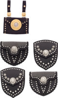 """Luxury Accessories:Accessories, Versace, Set of 5 Black Leather Studded Belt Bags. Very GoodCondition. 5"""" Width x 5"""" Height x 1"""" Depth Each. ...(Total: 5 Items)"""