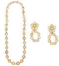 """Luxury Accessories:Accessories, Chanel Gold & Crystal Necklace and Earrings. Very Good Condition. Necklace: 29"""" Length x .5"""" Width, Earrings: 3"""" Lengt... (Total: 2 )"""