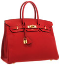 Luxury Accessories:Bags, Hermes Special Order Horseshoe 35cm Vermillion & Black TogoLeather Birkin Bag with Gold Hardware. Very Good to Excellent...