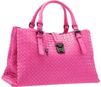 "Bottega Veneta Pink Intrecciato Leather Roma Tote Bag Excellent Condition 15"" Width x 8.5"" Height"