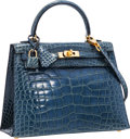 "Luxury Accessories:Bags, Hermes 25cm Shiny Blue Jean Alligator Sellier Kelly with GoldHardware. Excellent Condition. 10"" Width x 7"" Height x3..."