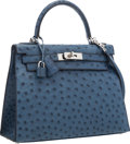 """Luxury Accessories:Bags, Hermes 28cm Blue Roi Ostrich Sellier Kelly Bag with Palladium Hardware. Excellent Condition. 11"""" Width x 8"""" Height x 4..."""