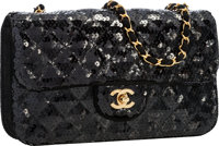 "Chanel Black Pailette Medium Flap Bag with Gold Hardware Very Good Condition 10"" Width x 6"" Hei"