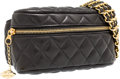 "Luxury Accessories:Bags, Chanel Black Quilted Lambskin Leather Waist Bag with Gold Hardware.Very Good to Excellent Condition . 7"" Width x 4"" H..."