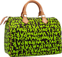 Louis Vuitton Limited Edition Neon Green Graffiti Canvas Speedy 30 Bag by Stephen Sprouse Excellent Condition</...