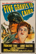 """Movie Posters:War, Five Graves to Cairo (Paramount, 1943). One Sheet (27"""" X 41"""").War.. ..."""