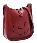 """Luxury Accessories:Bags, Hermes Rouge H Calf Box Leather Evelyne TPM Bag. Excellent Condition. 6.5"""" Width x 7"""" Height x 2"""" Depth. ..."""