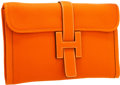 "Luxury Accessories:Bags, Hermes Orange Togo Leather Jige MM H Clutch Bag. ExcellentCondition. 11.5"" Width x 7.5"" Height x 1"" Depth. ..."