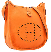 """Hermes Orange H Clemence Leather Evelyne TPM Bag Excellent Condition 6.5"""" Width x 7"""" Height x 2"""""""