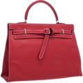 "Luxury Accessories:Bags, Hermes 35cm Vermillion Swift Leather Kelly Flat Bag with PalladiumHardware. Very Good Condition. 14"" Width x 10""Heig..."