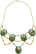 Estate Jewelry:Necklaces, Antique Micromosaic, Gold Necklace. ...