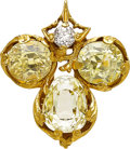 Estate Jewelry:Brooches - Pins, Antique Sapphire, Diamond, Gold Clip. ...