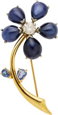 Estate Jewelry:Brooches - Pins, Sapphire, Diamond, Gold Brooch . ...