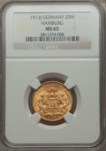 German States:Hamburg, German States: Hamburg. Free City gold 20 Mark 1913-J MS65 NGC,...