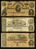 Confederate Notes:1863 Issues, T58; T65; and a T69 Confederate Notes.. ... (Total: 3 notes)