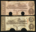 Confederate Notes:1862 Issues, T53 $5 1862;. T60 $5 1863.. ... (Total: 2 notes)