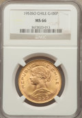 Chile, Chile: Republic gold 100 Pesos 1953-So MS66 NGC,...