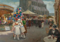 Fine Art - Painting, European:Modern  (1900 1949)  , CARLOS BUFFIN (French, 1871-1926). La Foire St. Christophe à Tourcoing, 1923. Oil on canvas. 56-1/2 x 81-1/2 inches (143...
