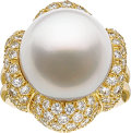 Estate Jewelry:Rings, South Sea Cultured Pearl, Diamond, Gold Ring, Henry Dunay . ...