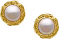 Estate Jewelry:Earrings, Mabe Pearl, Gold Earrings. ...