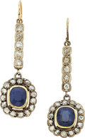 Estate Jewelry:Earrings, Antique Sapphire, Diamond, Silver-Topped Gold Earrings. ...