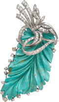 Estate Jewelry:Brooches - Pins, Turquoise, Diamond, White Gold Brooch. ...