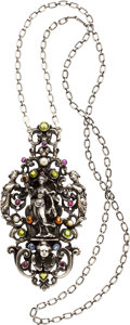 Estate Jewelry:Necklaces, Antique Multi-Stone, Pearl, Silver Pendant-Necklace. ...