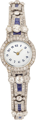 Art Deco Swiss Lady's Diamond, Synthetic Sapphire, Platinum Wristwatch