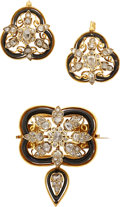 Estate Jewelry:Suites, Victorian Diamond, Enamel, Gold Jewelry Suite. ... (Total: 2 Items)