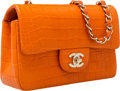 "Luxury Accessories:Bags, Chanel Matte Orange Crocodile Flap Bag with Gold Hardware. VeryGood Condition. 8"" Width x 5"" Height x 2.5"" Depth. ..."