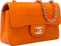 """Chanel Matte Orange Crocodile Small Single Flap Bag with Gold Hardware Very Good Condition 8"""" Wid"""
